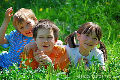 Happy children in garden