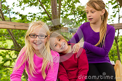 Happy children in the garden and laugh