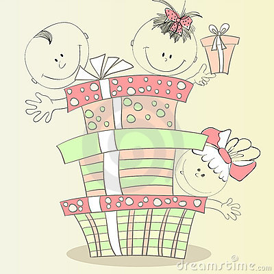 Happy children with gift