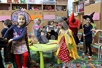 Happy children on Halloween Editorial Stock Image
