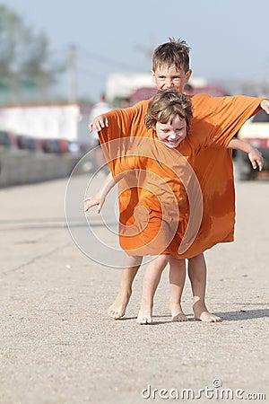 Happy children having fun outdoors