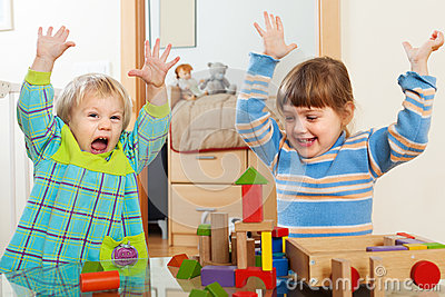 Happy children in home Stock Photo