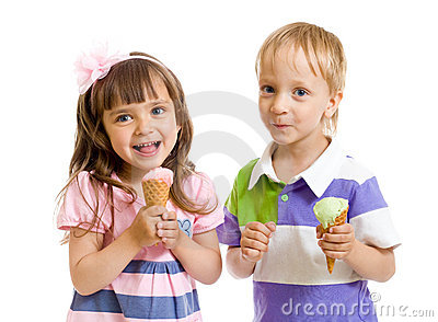 Happy children with ice cream in studio