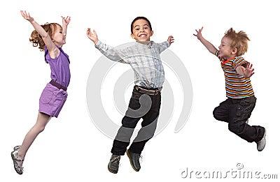 Happy children jumping Stock Photo
