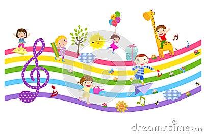 Happy children  and music