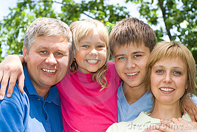 Happy children with parent