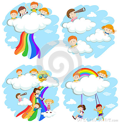 Happy children playing on the clouds and rainbow Cartoon Illustration
