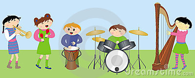 Happy children playing instruments