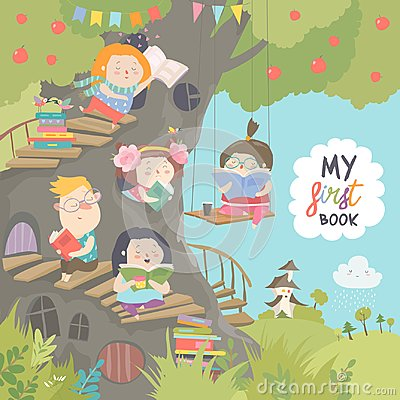 Free Happy Children Reading Books In The Treehouse Stock Photo - 117090320
