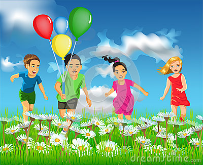 Happy children running in the field