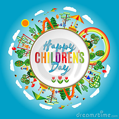 Free Happy Children S Day. Vector Illustration Of Universal Children Day Poster. Childrens Background Royalty Free Stock Photography - 70568647