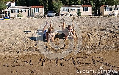 Happy children on a sandy beach
