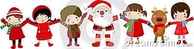 Happy children and santa