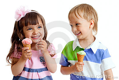 Happy children twins girl and boy with ice cream