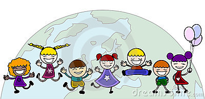 Happy children with world