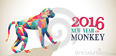 Happy china new year monkey 2016 triangle banner Vector Illustration