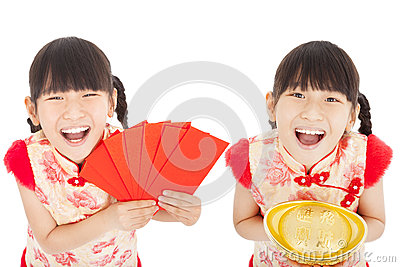 Happy  chinese new year. child showing red envelope and gold