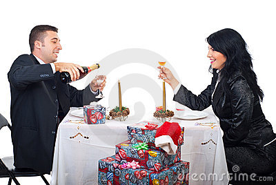 Happy Christmas couple preparing for toast