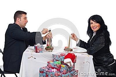 Happy Christmas couple ready for toast