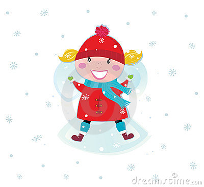 Happy christmas girl in red costume making angel