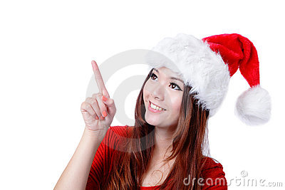 Happy Christmas girl smile introduce by finger