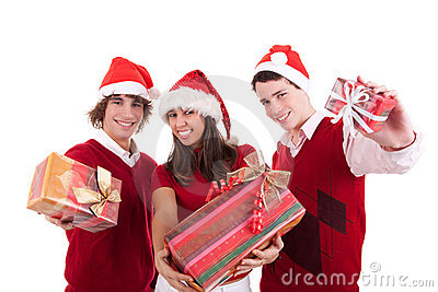 Happy christmas teens with gifts