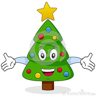 Happy Christmas Tree Character