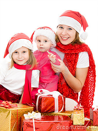 Happy Christmas woman with children