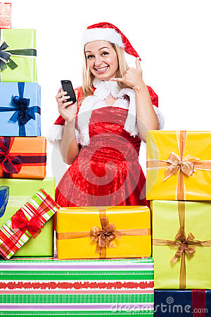 Happy Christmas woman going to call you