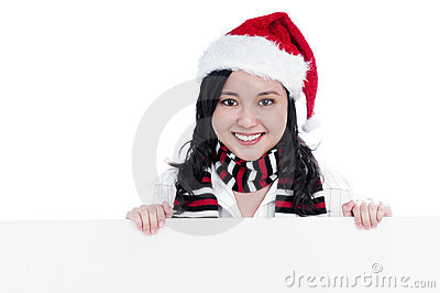Happy Christmas Woman Holding Blank Billboard