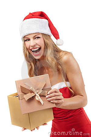 Happy Christmas woman holding gift