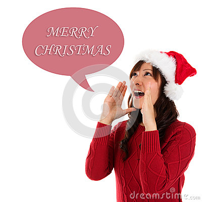 Happy Christmas woman shouting
