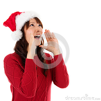 Happy Christmas woman shouting excited