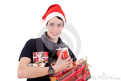 Happy christmas young man with a gifts