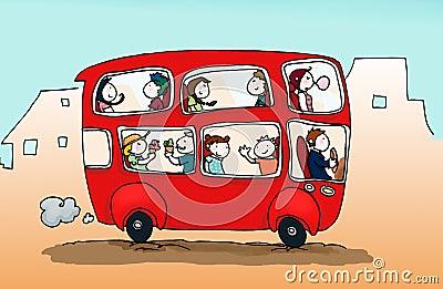 Happy city bus