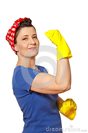 Free Happy Cleaning Lady Copy Space Royalty Free Stock Images - 73080869