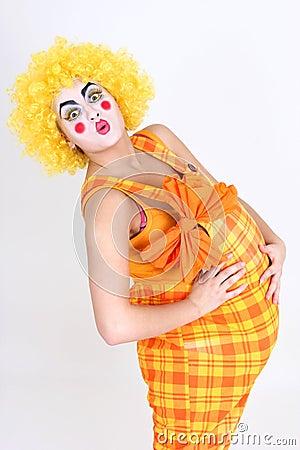 Happy clown with big abdomen