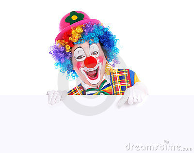 Happy clown with the blank board