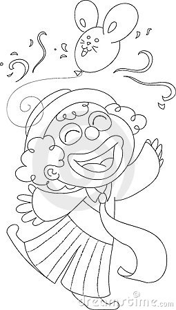 Coloring Happy clown vector