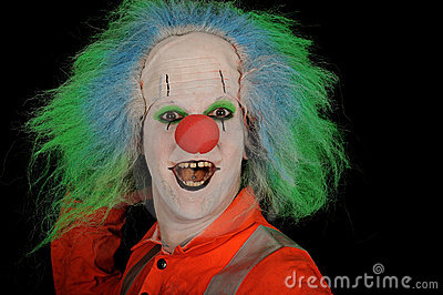 Happy clown with green wig