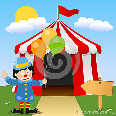 Happy Clown near Circus Tent