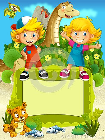 The group of happy preschool kids - colorful illustration for the children
