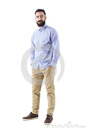 Free Happy Confident Bearded Business Man In Formal Wear With Hands In Pockets Looking At Camera Stock Photos - 108116863
