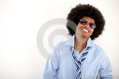 Happy cool afro man