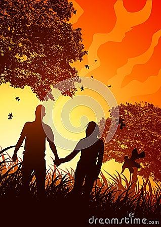 Happy Couple in Autumn Breeze