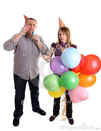 Happy Couple with baloons and bubbles