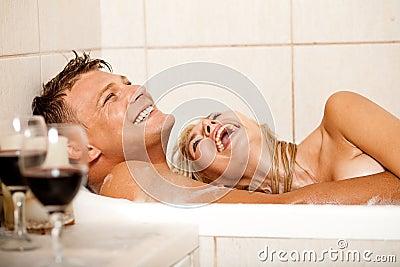 Happy couple in bath