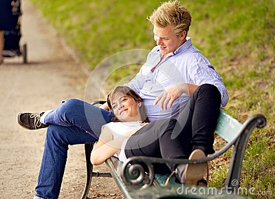 Happy Couple Bonding in a Park