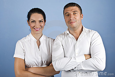 Happy couple of business people