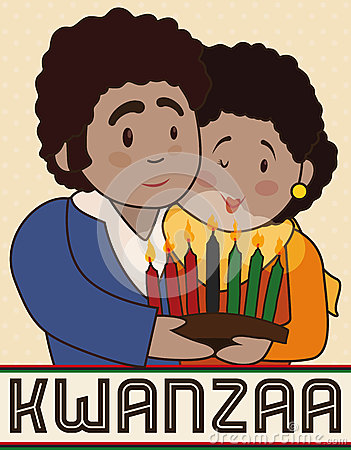 Happy Couple with a Candlelight Celebrating Kwanzaa, Vector Illustration Vector Illustration